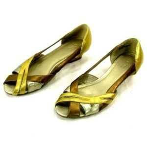 Cato Women's Sz 9 Silver Gold Open Toe Wedge Shoes